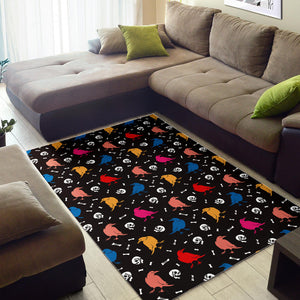 Colorful Crow Pattern Area Rug
