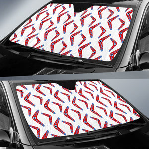 Boomerang Aboriginal Pattern White Background Car Sun Shade