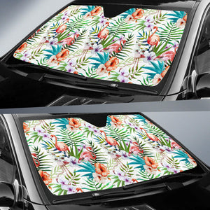 Flamingo Flower Leaves Pattern Car Sun Shade