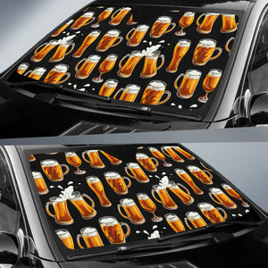 Beer Pattern Background Car Sun Shade