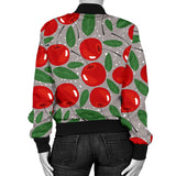 Cherry Leaves Pattern Women Bomber Jacket