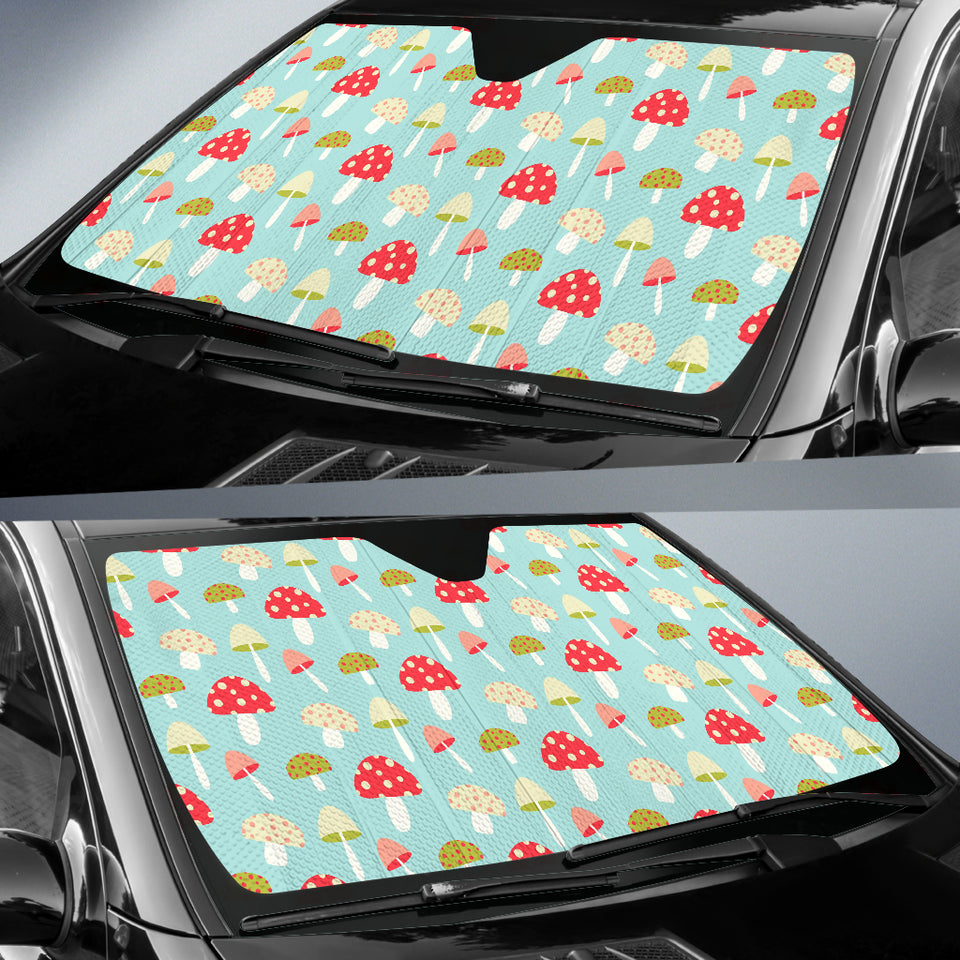 Mushroom Pattern Background Car Sun Shade