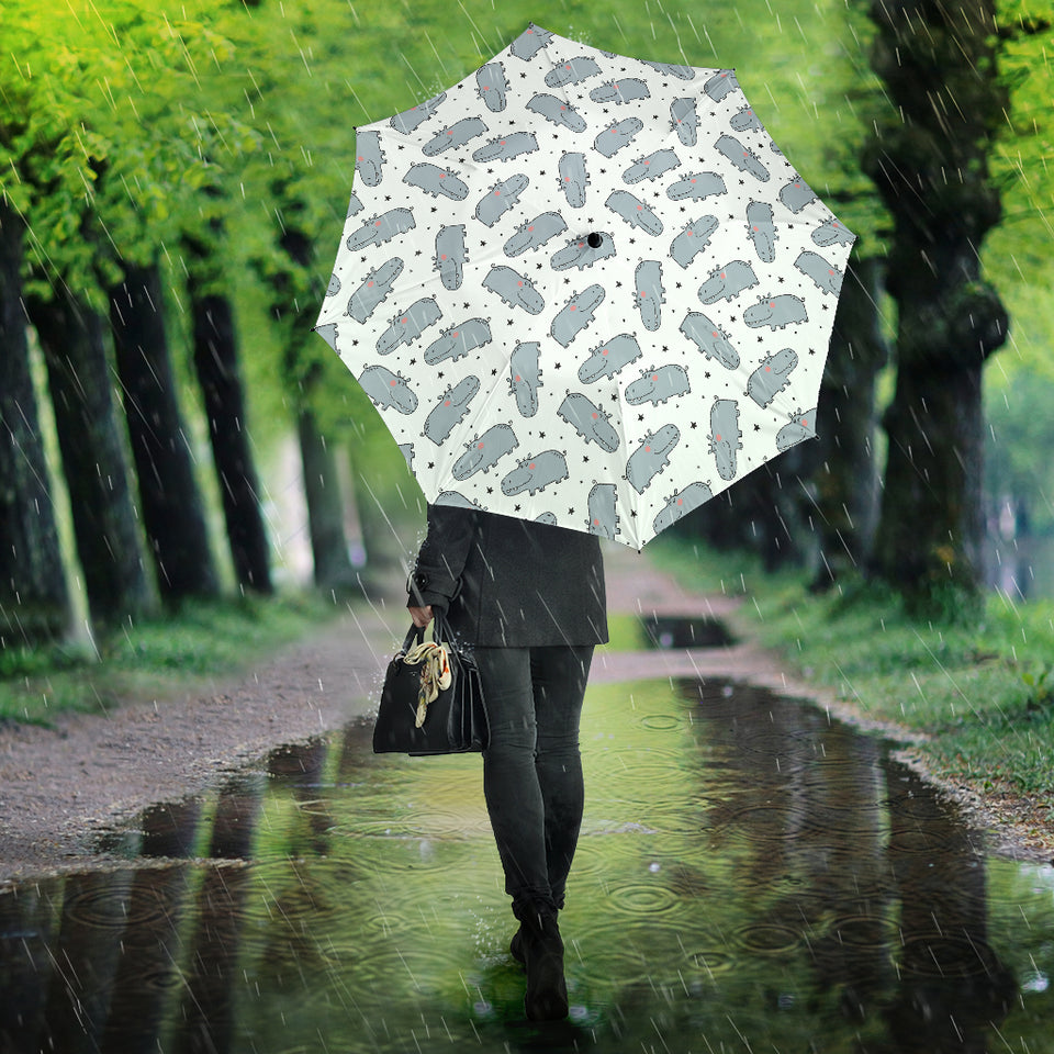 Hippopotamus Pattern Print Design 01 Umbrella