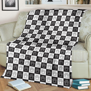Dog Paws Pattern Print Design 05 Premium Blanket