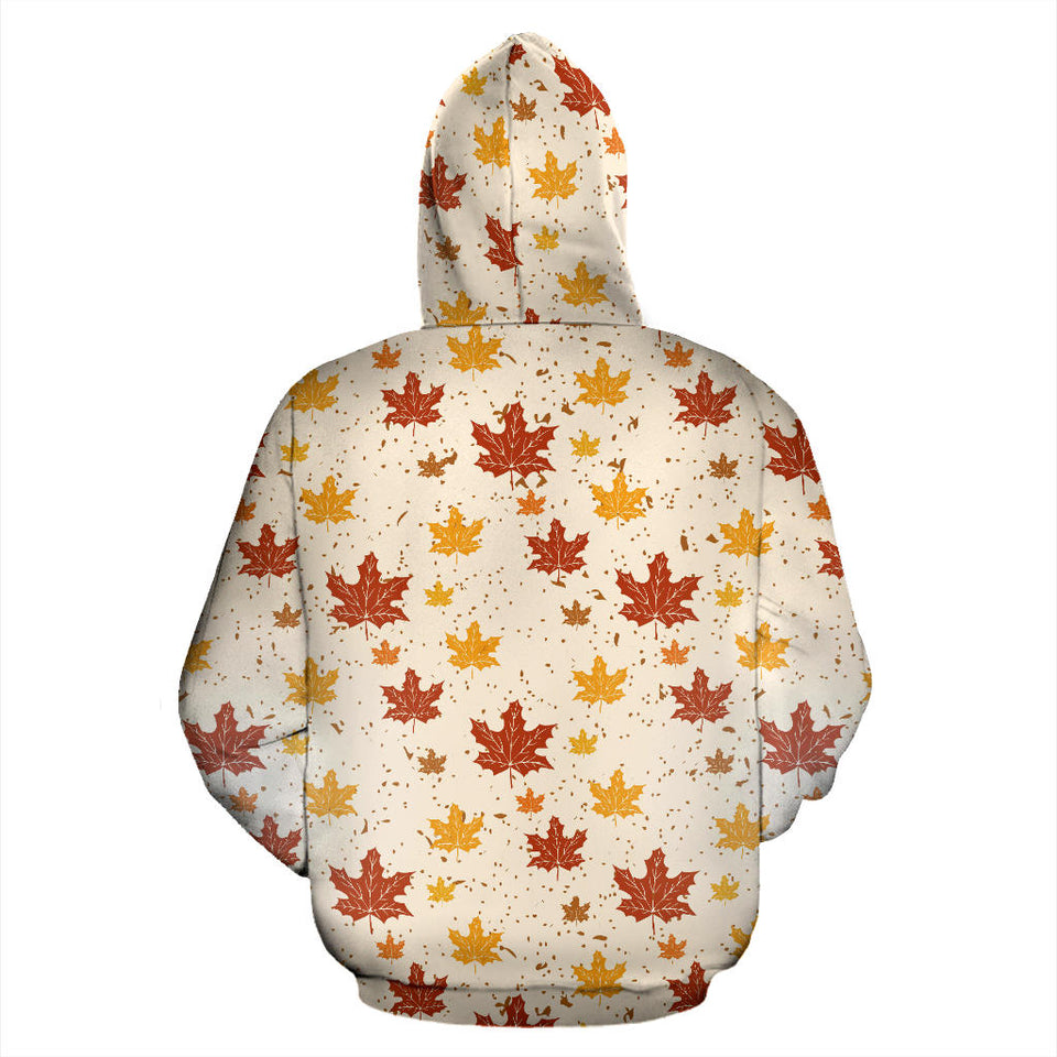 Red and Orange Maple Leaves Pattern Pullover Hoodie