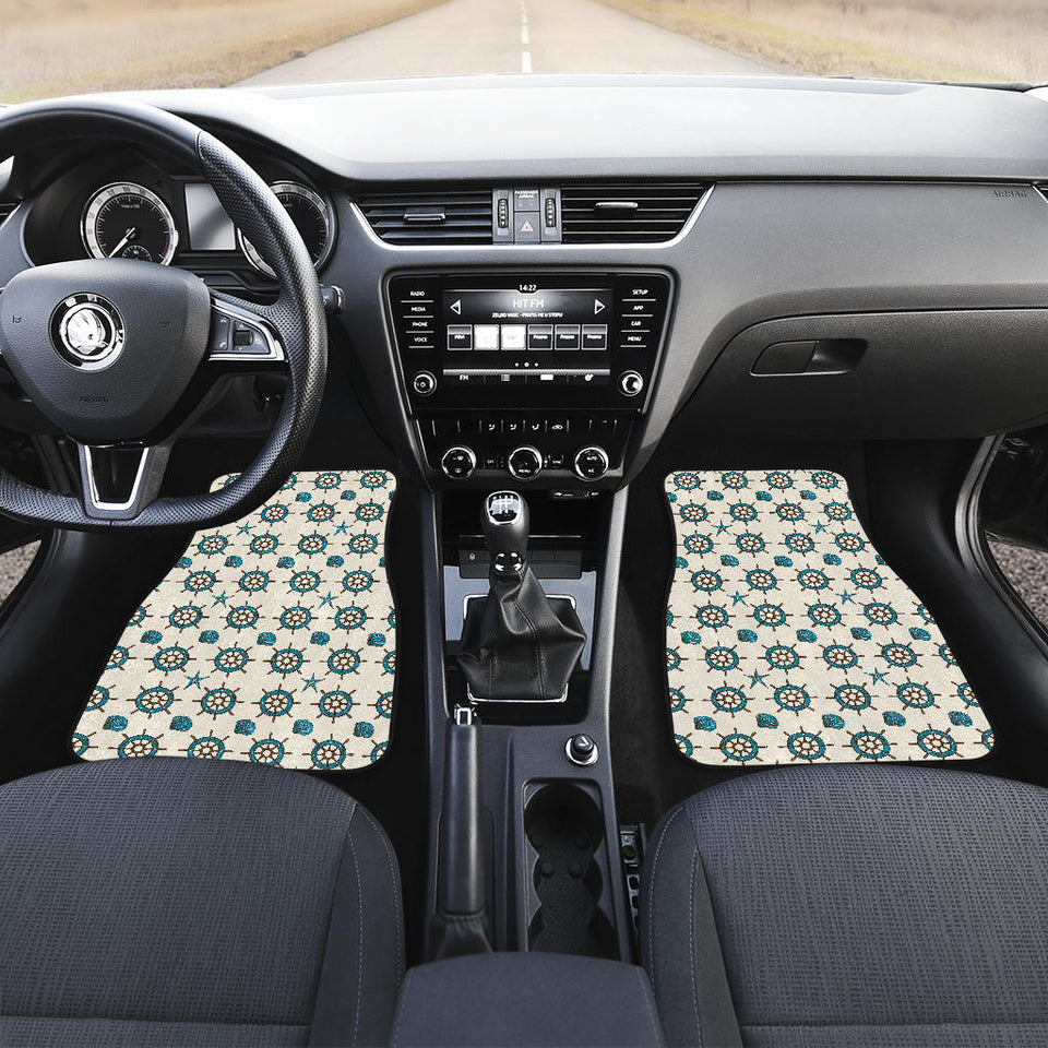 Nautical Steering Wheel Rudder Shell Pattern Front Car Mats