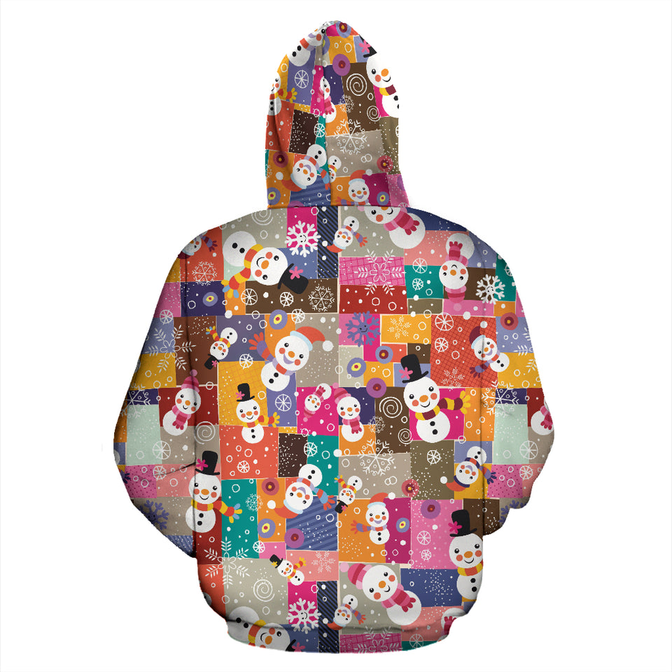 Snowman Colorful Theme Pattern Pullover Hoodie