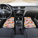 Colorful Koi Fish Carp Fish and Sakura Pattern Front Car Mats
