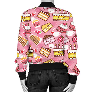 Cake Pattern Background Women Bomber Jacket