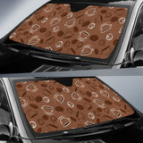 Coffee Cup and Coffe Bean Pattern Car Sun Shade