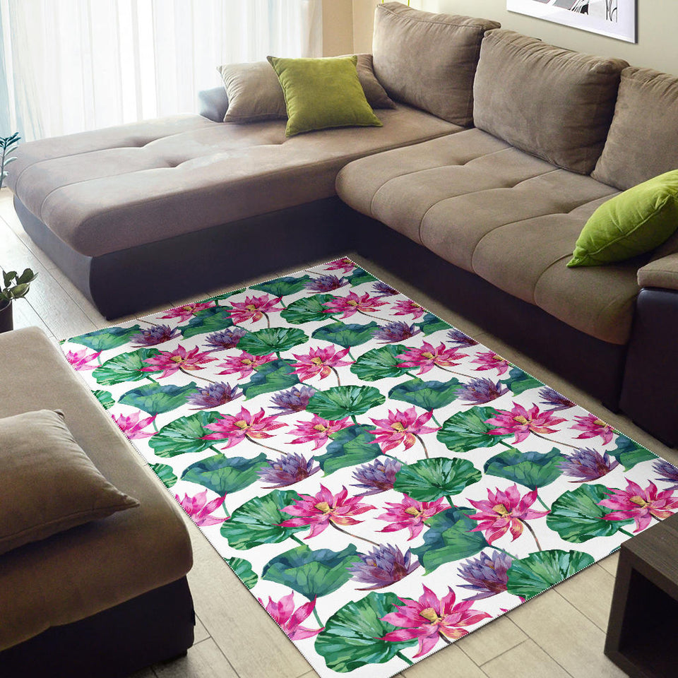 Pink Lotus Waterlily Pattern Area Rug