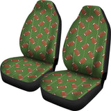 American Football Ball Pattern Green Background Universal Fit Car Seat Covers