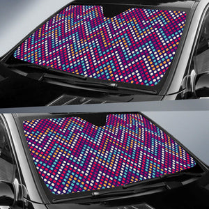 Zigzag Chevron Pokka Dot Aboriginal Pattern Car Sun Shade