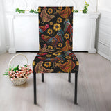 Rooster Chicken Flower Pattern Dining Chair Slipcover
