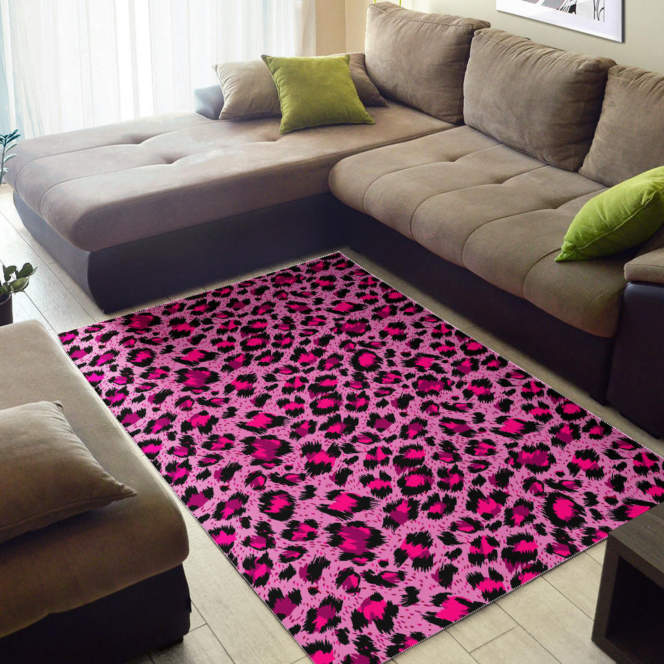 Pink Leopard Skin texture Pattern Area Rug