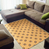 American Football Ball Pattern Yellow Background Area Rug