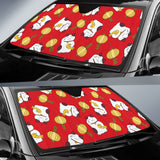 Meneki Neko Lucky Cat Pattern Red Theme Car Sun Shade