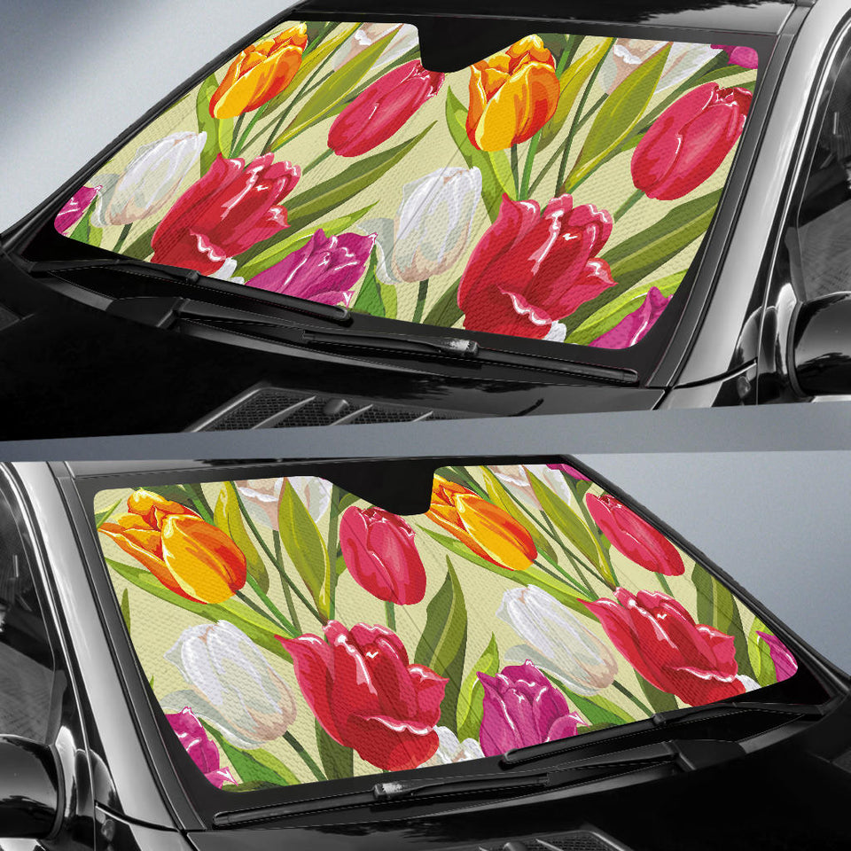Colorful Tulip Pattern Car Sun Shade