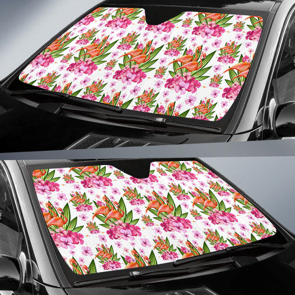 Flamingo Pink Hibiscus Pattern Car Sun Shade