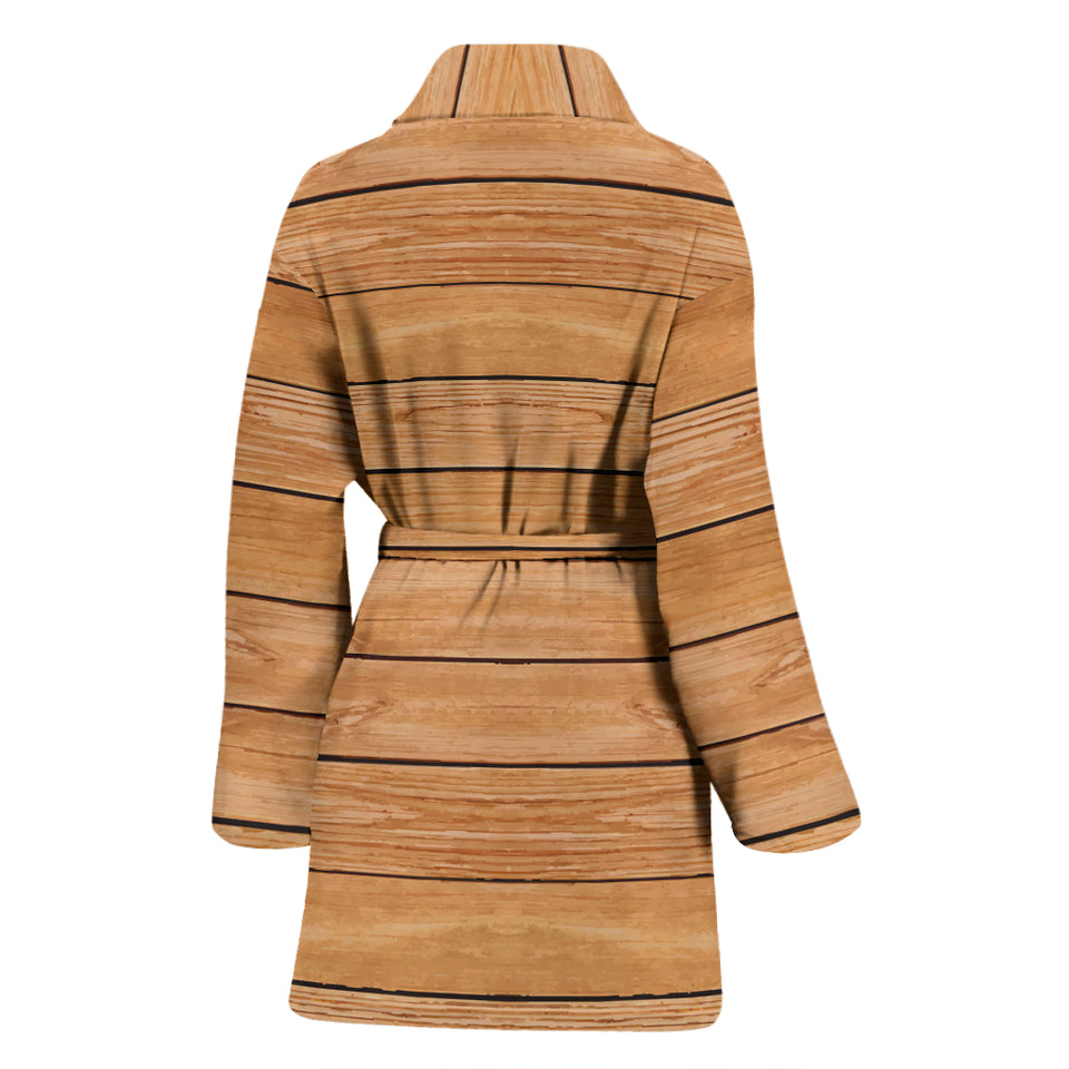 Wood Printed Pattern Print Design 04 Women Bathrobe