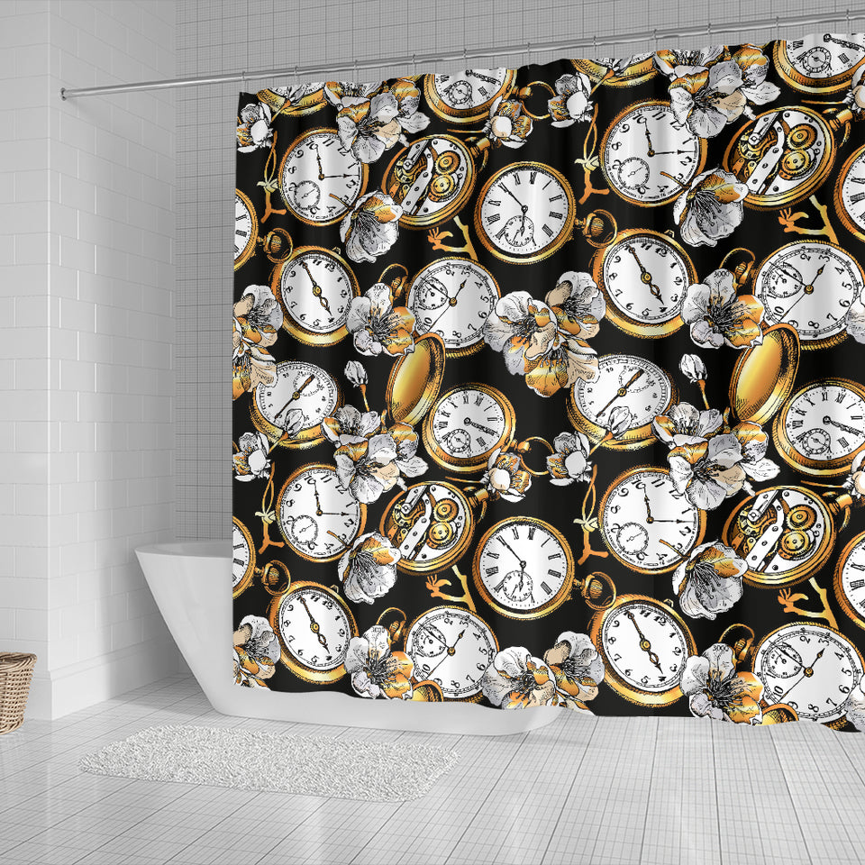 Clock Flower Pattern Shower Curtain Fulfilled In US