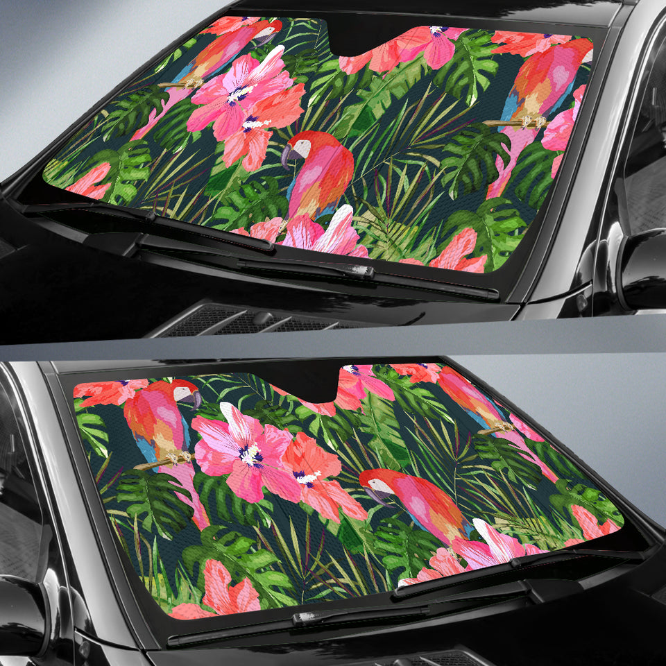 Parrot Leaves Pattern Car Sun Shade