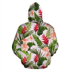 Heliconia Hibiscus Leaves Pattern Men Women Pullover Hoodie