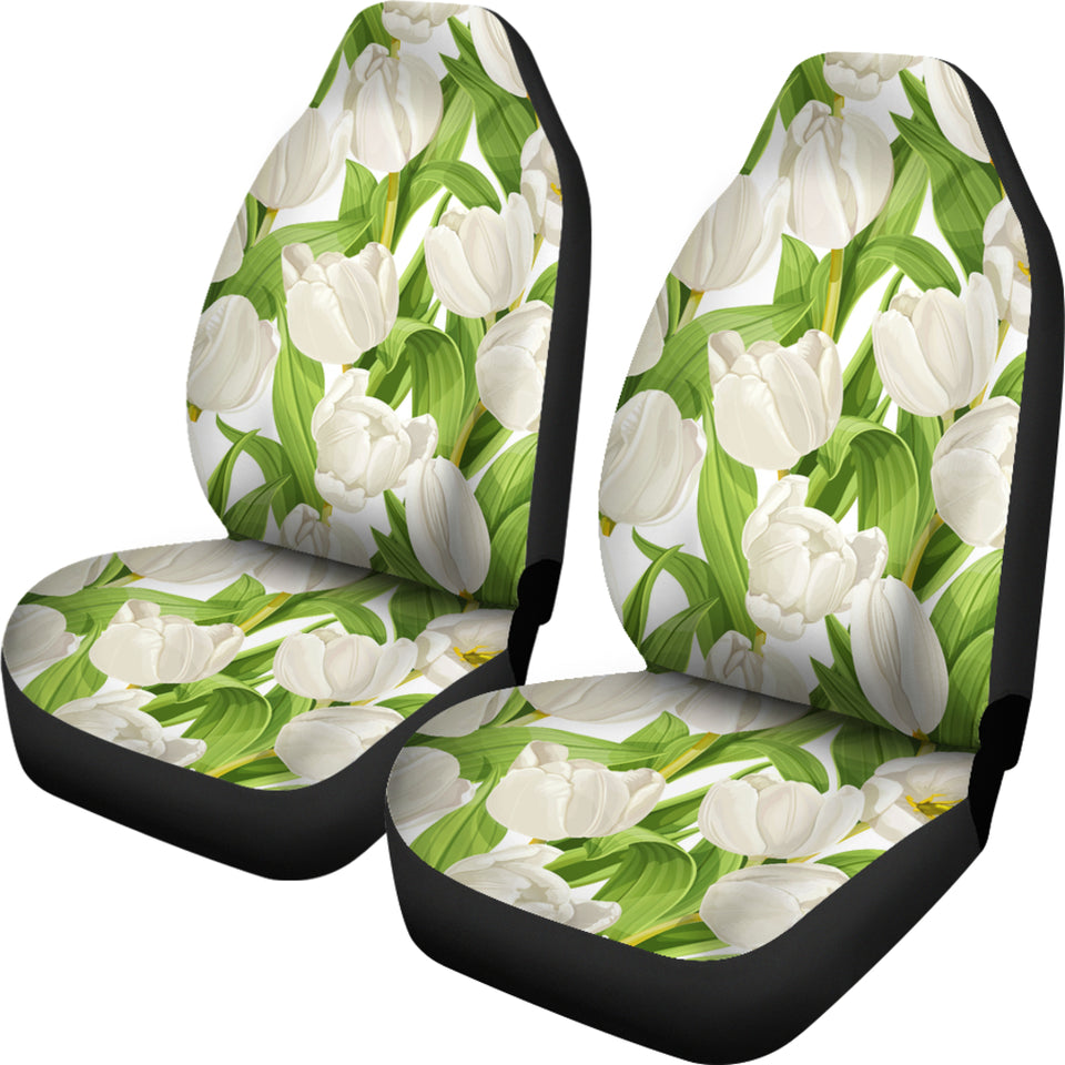 White Tulip Pattern Universal Fit Car Seat Covers