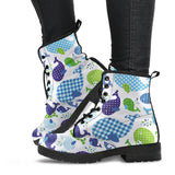 Whale Stripe Dot Pattern Leather Boots