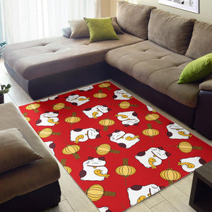 Meneki Neko Lucky Cat Pattern Red Theme Area Rug