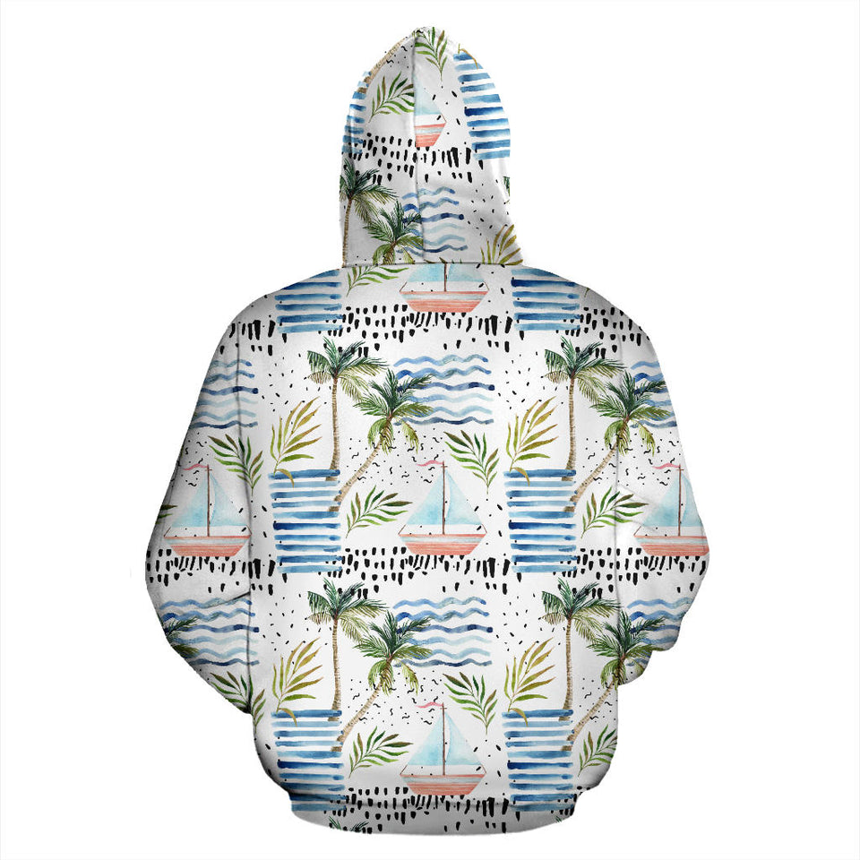 Sailboat Pattern Theme Men Women Pullover Hoodie