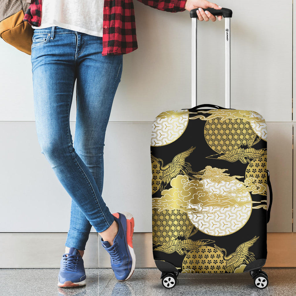 Gold Could Crane Japanese Pattern Luggage Covers