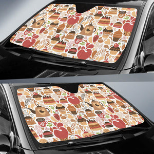 Hand Drawn Cake Pattern Car Sun Shade