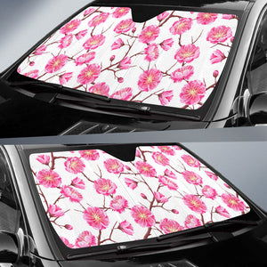 Pink Sakura Pattern Car Sun Shade