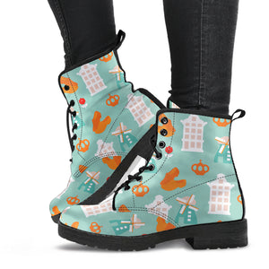 Windmill Pattern Theme Leather Boots