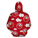 Red Daruma Cloud Pattern Men Women Pullover Hoodie