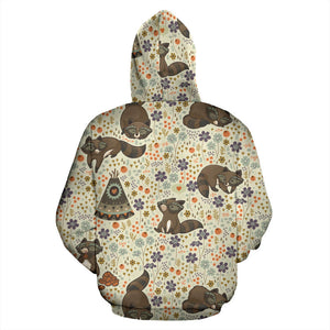 Raccoon Pattern Men Women Pullover Hoodie