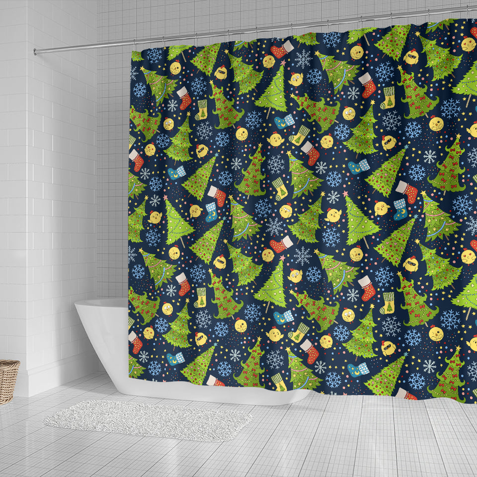 Christmas Tree Snowflake Pattern Shower Curtain Fulfilled In US