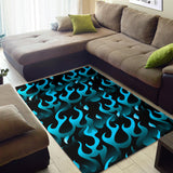 Blue Flame Fire Pattern Background Area Rug