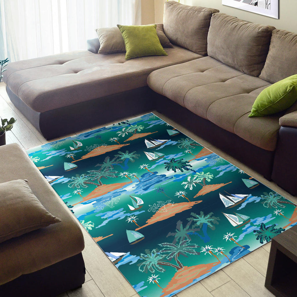 Sailboat Water Color Pattern Area Rug