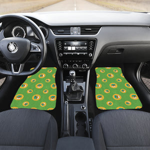 Bonsai Pattern Green Background Front Car Mats