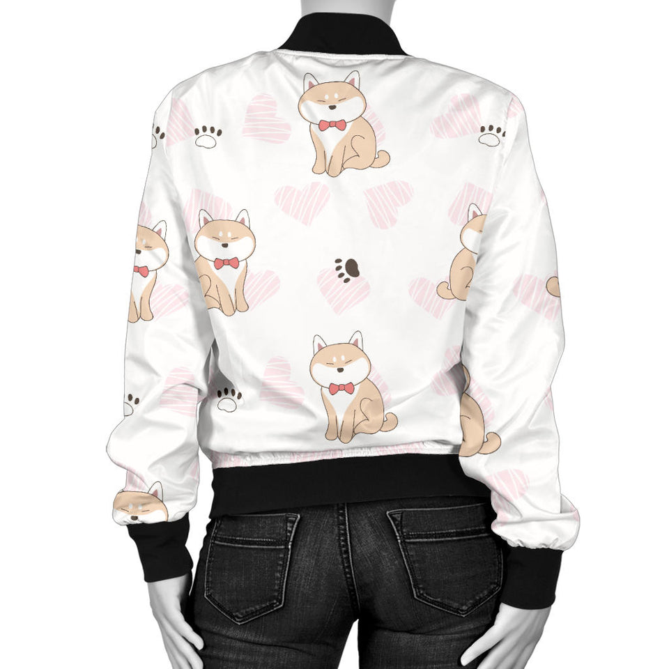 Cute Shiba Inu Heart Pattern Women Bomber Jacket