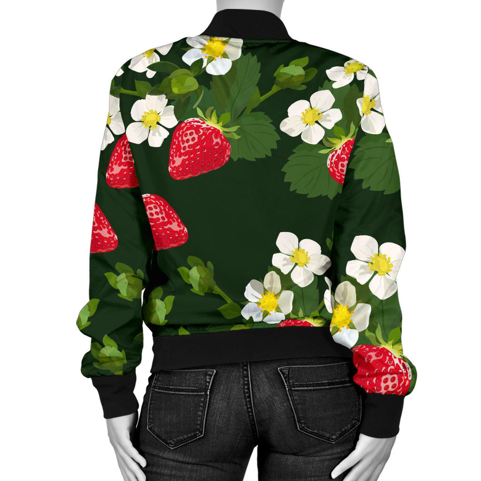 Strawberry Pattern Background Women Bomber Jacket