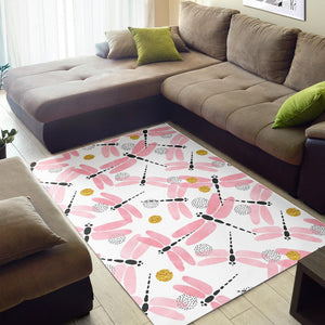 Pink Dragonfly Pattern Area Rug