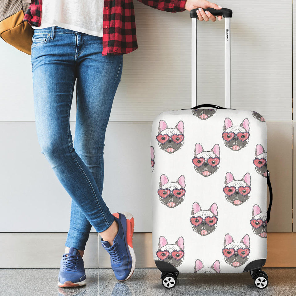 French Bulldog Heart Sunglass Pattern Luggage Covers