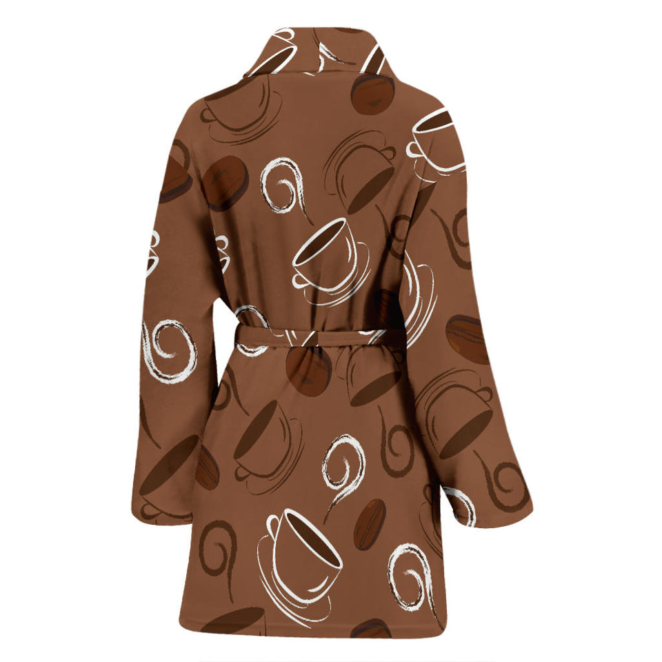 Coffee Cup and Coffe Bean Pattern Women Bathrobe