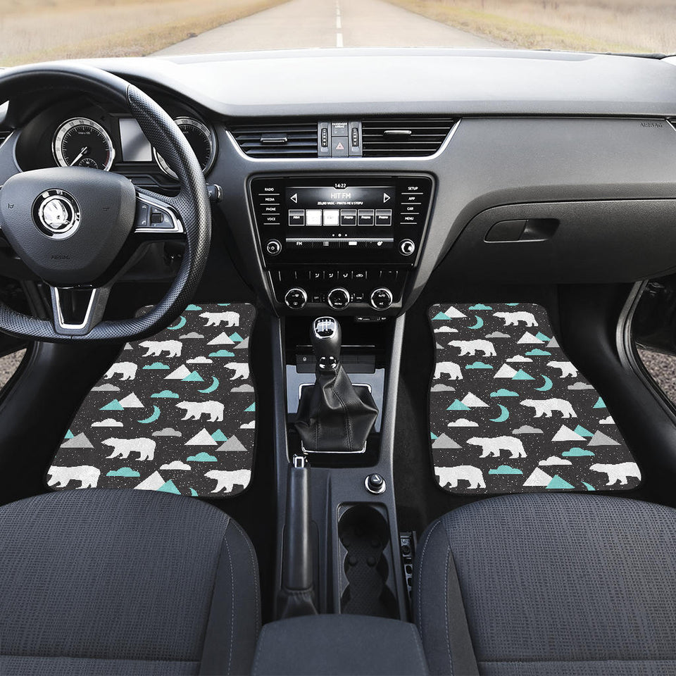 Polar Bear Moon Pattern Front Car Mats