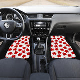 Red Maple Leaves Pattern Front Car Mats