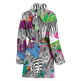 Zebra Colorful Pattern Women Bathrobe