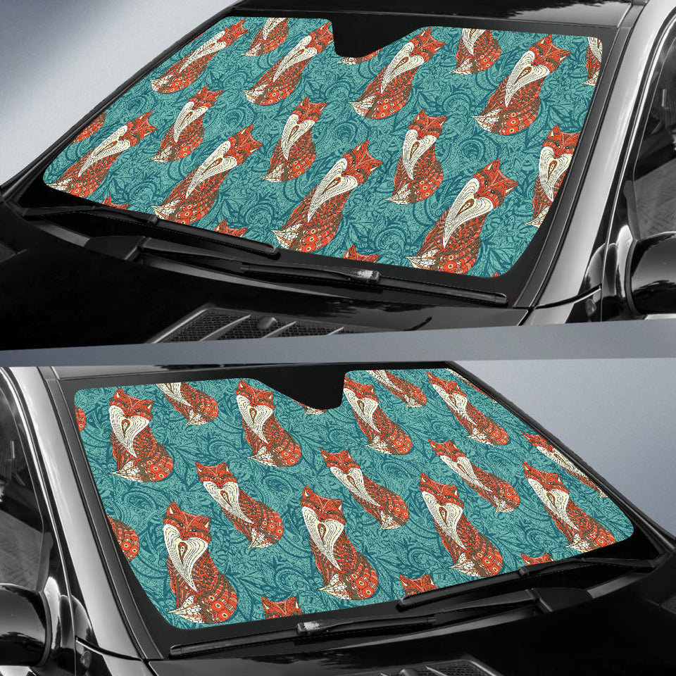 Fox Tribal Pattern Background Car Sun Shade